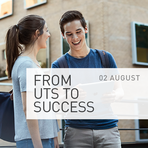 two students standing in front of UTS Business School