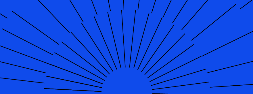 Deep blue background with black lines bursting out from the middle forming a sun