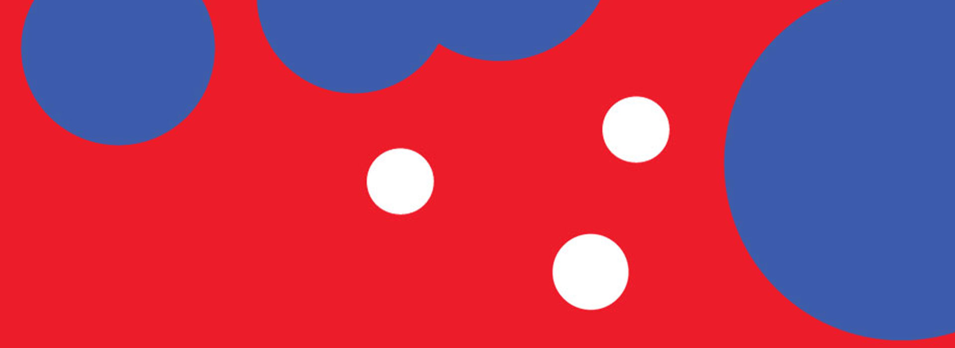 Blue and white circles on a red background