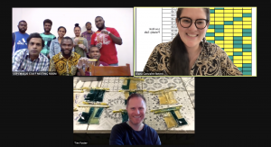 Three screens from a Zoom meeting, each showing members of the project team