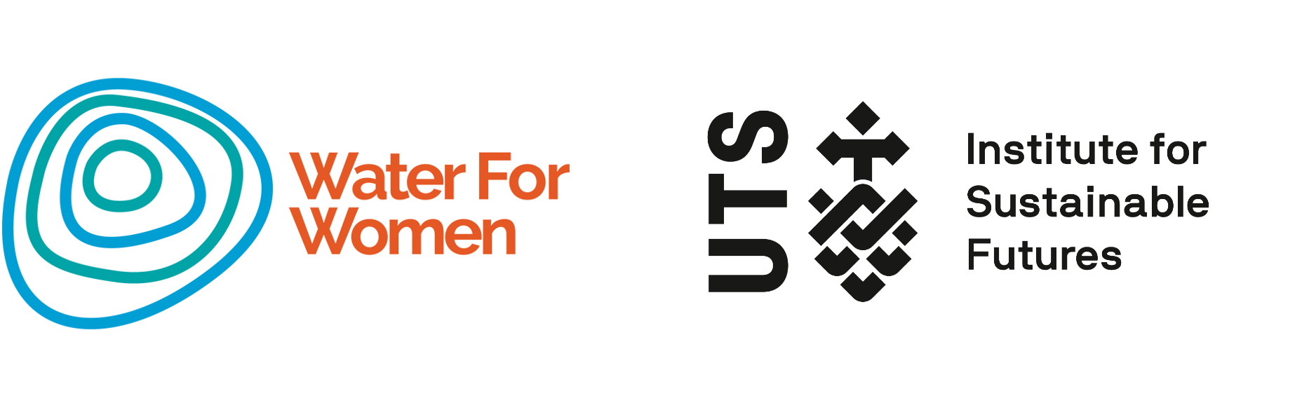 Logos of both Water for Women, and the UTS Institute for Sustainable Futures