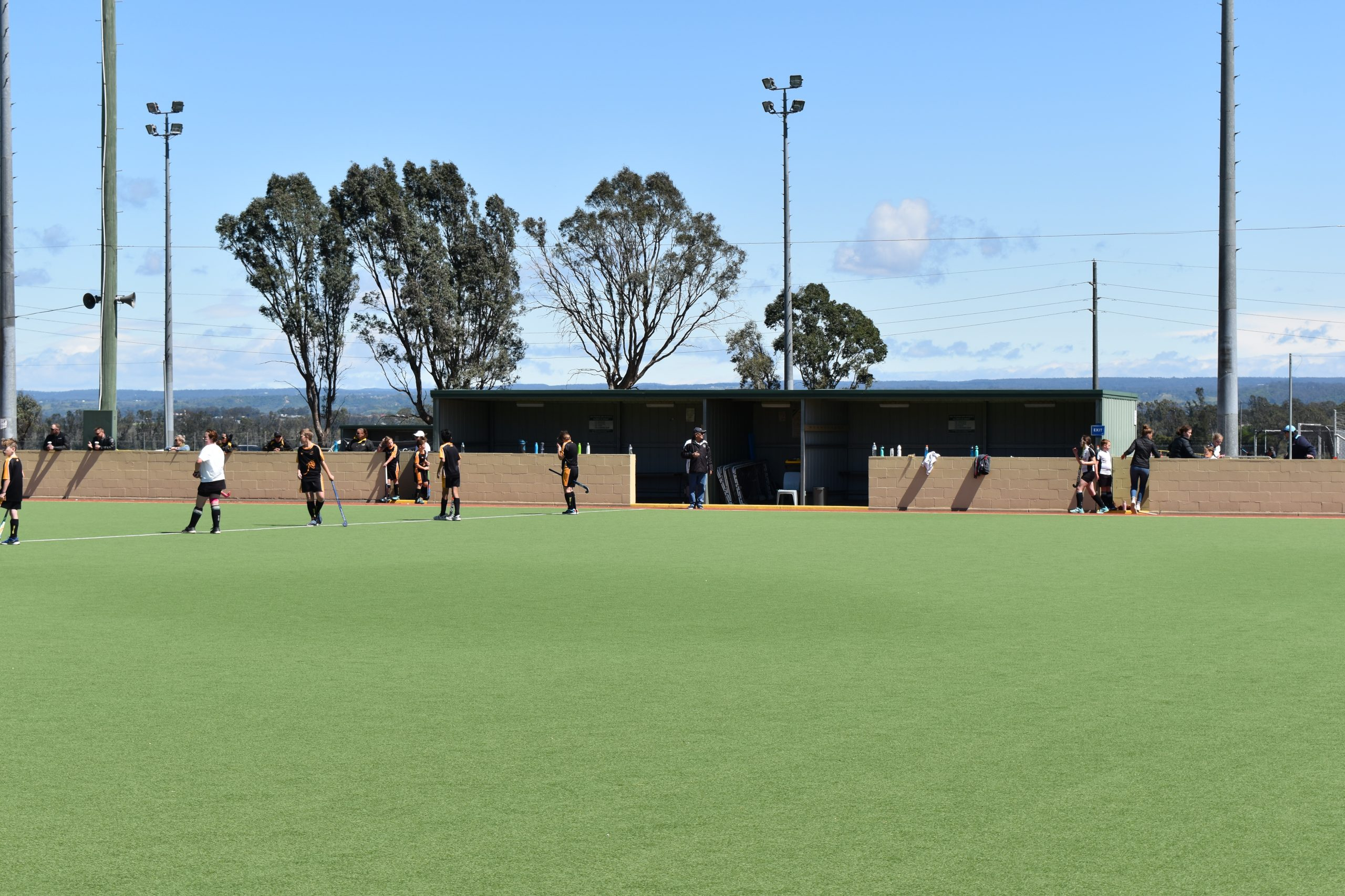 Hockey field, man in the centre of the picture in the dugout