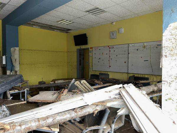 Inside the Boeselager-Realschule , a destroyed classroom