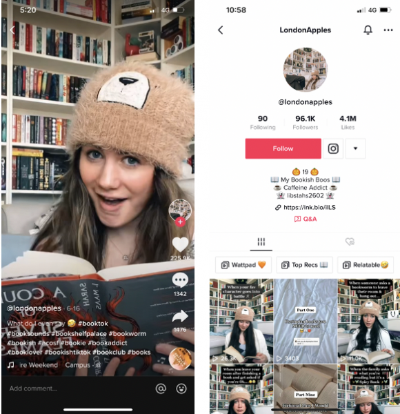 A screen shot of a Tiktok account. A girl wearing a teddybear beanie, holding a book, in front of a bookshelf. She is smiling. @Londonapples TikTok account homepage